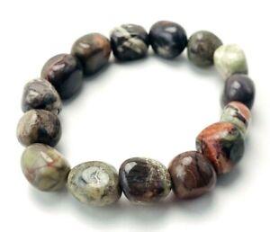 Beaded Jasper Polished Gemstone Nugget BOHO Stretch Bracelet