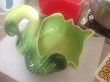Large Green Coronet Ceramic Swan Planter Vase from the 50's