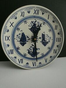 Delft Round Ceramic Plate Wall Clock windmills, ships vintage size c battery