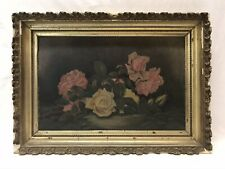 Antique Late 19th C Roses Still Life Oil Painting Original Gold Frame Signed
