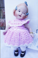 ANTIQUE REPRODUCTION GERBRUDER HUEBACH 8 in JEANNIE DI MAURO PORCELAIN DOLL NEW