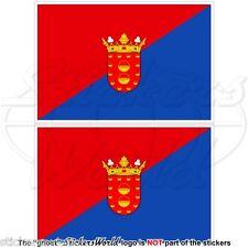 LANZAROTE Flagge KANARISCHE INSELN Spanien, Islas Canarias Aufkleber 100mm x2