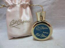 Vintage Ceil Chapman mini Bleue parfum gold plated bottle & Satin pouch