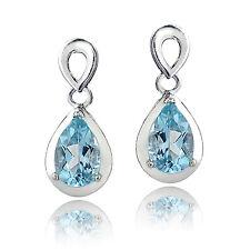 Sterling Silver 2ct TGW Blue Topaz Double Teardrop Earrings
