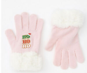 Claire's Ho Ho Ho Furry Trim Pink Gloves New with Tags