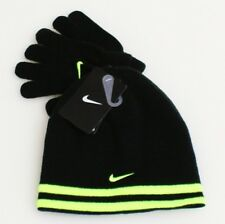Nike Reversible Black & Volt Knit Beanie & Stretch Gloves Youth Boy's 8-20 NWT