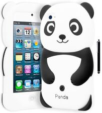iPod Touch 4 Cute Black & White Panda 3D Soft Silicone Case Cover+Stylus