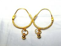 Indian Traditional Bollywood 22ct Gold plated big round Bali/hoop earrings