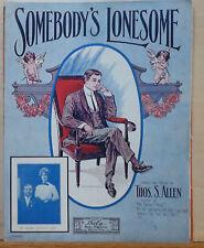 Somebody's Lonesome - 1910 large sheet music - Mr. & Mrs. Leonard T. Chick photo