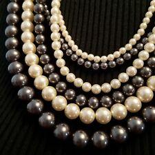 Multi Strand Pearl Necklace Gray Cream Ribbon Tie Closure Hilary Joy