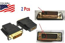 2Pcs DVI-D 24+1 Pin Male to HDMI Female M-F Adapter Converter HDTV LCD Monitor