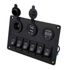 Waterproof 6 Gang LED Car Rocker Switch Panel Circuit For Marine Boat Truck 12V