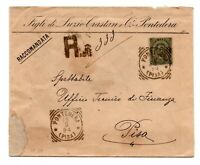 1892 REGNO UMBERTO CENT.45 ISOLATO SU RACCOMANDATA DA PONTEDERA A PISA