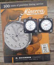 Minerva rally timer set + catalogue chrono Heuer Monte Carlo style stopwatch