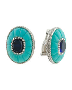 JUDITH RIPKA Sterling Silver Turquoise and Blue Sapphire Earrings Clips On