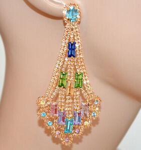PENDIENTES largos ORO ROSA mujer cristales colgantes strass multicolor BB62