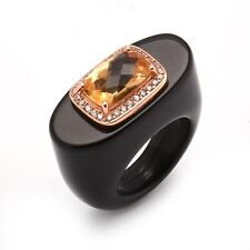 Meher's SS Rose Vermeil Citrine & Zircon Accented Black Onyx Gemstone Ring