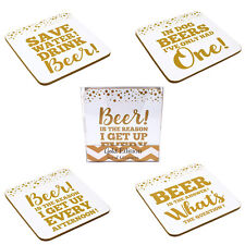 Set de 4 Fantaisie Bière Slogan Sous-Verre Homme Cave Cadeau Table Basse Tapis