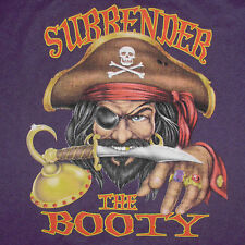Pirate T-Shirt Medium Surrender the Booty Joke Funny Novelty Humor Purple