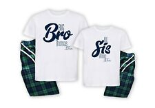 Siblings Big Little Bro Sis Matching Family Personalised Pyjamas Surname Gift