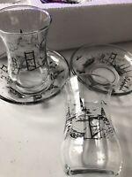 Tea glasses set 6 Traditional Turkish Tea Glasses with Istanbul Print- Free Uk P