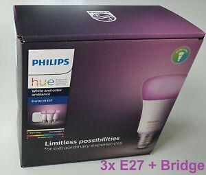 Philips Hue Starter kit,    white a. color ambience,   3x E27 + Bridge Bluetooth