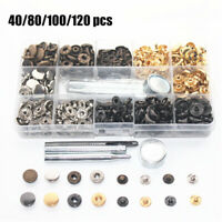 40-120pcs Rivets Double Cap Rivets Metal Stud Fixing Tool Kit for Leather Craft