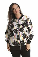 New Ladies Bomber Jacket Womens Plus Size Floral Coat Ribbed Varsity Nouvelle