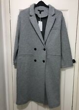 Zara Aw17 Light Grey Long Double Breasted Wool Wool Blend Coat Size S