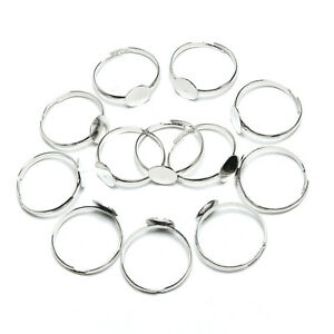 10PCS 8mm Silver Plated Adjustable Flat Ring Base Blank Jewelry Findings SEAU