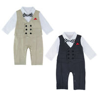 Baby Boy Tuxedo Romper Newborn Gentleman Wedding Outfit Infant Bowtie Long Suit