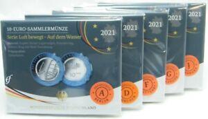 Alle 5 Gedenkmünzen Deutschland 10 Euro 2021 PP Auf dem Wasser ADFGJ