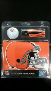 Cleveland Browns Deluxe Golf Gift Set 15x25 Towel Logo Ball 6 Tees
