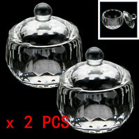 New 2Pcs Acrylic Crystal Glass Dappen Dish Lid Bowl Cup Liquid Powder Nail Art