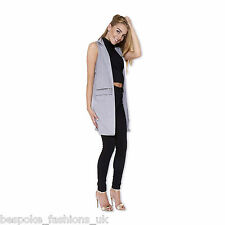 Ladies Women's Sleeveless Zip Pocket Long Waistcoat Blazer Jacket Coat Top 8-14 Silver Grey 12