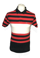 Men's Levi Strauss Polo T Shirt Red Blue Striped Short Sleeve 100% Cotton Small