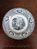 "19th C. Black Transferware Wedgwood Corinthia 9 1/2"" Rimmed Soup Bowl"