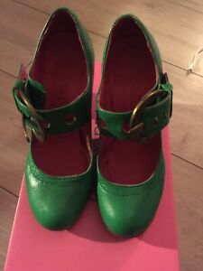 Red Or Dead Green Leather Shoes. Size 3/36