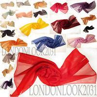 Fashion Women Lady Long Plain Chiffon Neck Scarf Scarves Wrap Soft Stole Shawl