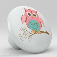 Retro Pink Owl Ceramic Knobs Pulls Kitchen Drawer Cabinet closet Vanity 1620