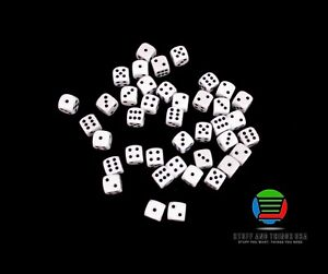 40X 12mm D6 Tabletop Gaming Dice (6-sided) - Black and White - NEW!!!