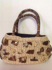 Sisal Rope Woven Purse Wood Shapes Wood Handles Designer Fashion Stylish Organic