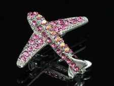 Brooch pin Aircraft Airplane Jet flight 2pcs Sparkly rose pink crystal silver