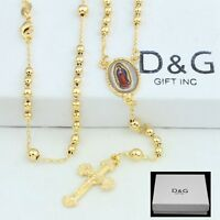 """DG Unixes 18"""" Gold-Filled Gold.VIRGIN MARY,JESUS CROSS.Rosary Necklace + BOX"""