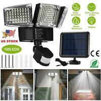 188 LED Solar Floodlight 3 Head Motion Sensor Security Wall Lamp Outdoor Garden