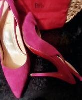 Christian Louboutin Apostrophy Slide Sandal 120mm Europe Sz.37.5 Hot Pink Suede