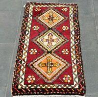 Decorative Wool Doormat Rug Anatolian Handwoven Vintage Turkish Carpet 2x3 ft.
