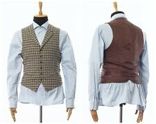Mens SUITSUPPLY MAGEE Lapelled Vest Waistcoat Wool Checked Brown Size 38 48 M