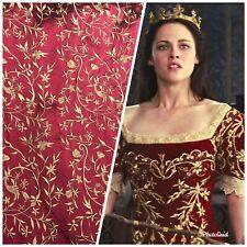 Designer 100% Silk Taffeta Dupioni Embroidery Floral Fabric - Red