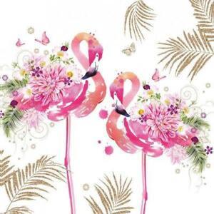 4 individual floral flamingo decoupage napkins, scrapbooking, mixed media, craft